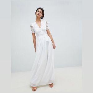 Club L Short Sleeve Crochet Lace Maxi Dress V Neck